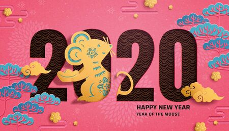 Illustration for Cute year of the rat paper art design with pine tree elements on fuchsia background - Royalty Free Image