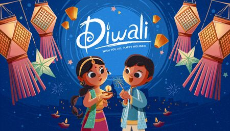 Illustration pour Diwali children holding oil lamp and sparkler with hanging Indian lanterns and sky lanterns in the background - image libre de droit