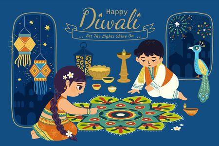 Illustration pour Lovely Diwali illustration with children drawing rangoli scene on blue night background - image libre de droit