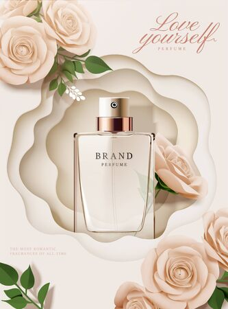 Illustration pour Elegant perfume poster ads with paper roses and hollow background in 3d illustration - image libre de droit