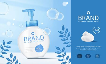 Ilustración de Foaming facial wash pump bottle ads with bubbles effect in 3d illustration - Imagen libre de derechos