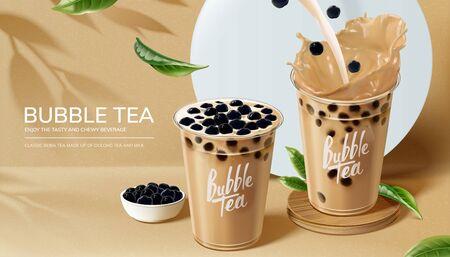 Ilustración de Bubble milk tea ads with pouring milk in 3d illustration - Imagen libre de derechos