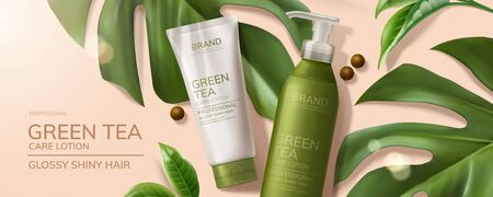 Ilustración de Flat lay natural green tea skincare products with tropical leaves on pink background in 3d illustration - Imagen libre de derechos