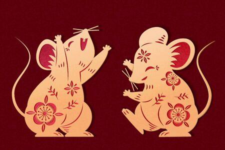 Ilustración de Lovely golden color paper art mice with hollow flower patterns - Imagen libre de derechos