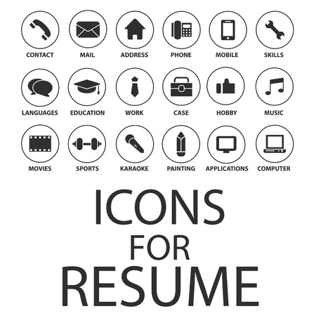 Illustration pour Icons set for your Resume, CV, Job - image libre de droit