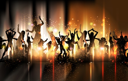 Party sound background Illustration with dancing people