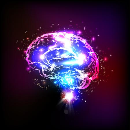 Illustration pour Abstract light human brain, illustration - image libre de droit