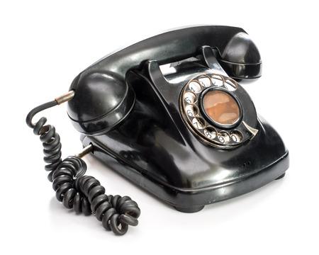 Photo pour Old telephone on white background. - image libre de droit