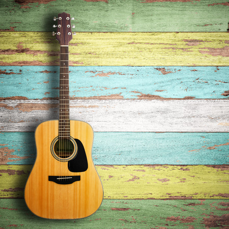 Photo for Guitar on wood background. - Royalty Free Image
