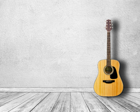 Photo for Guitar in white room. - Royalty Free Image