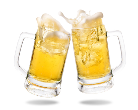 Photo for Cheers cold beer with splashing out of glasses on white background. - Royalty Free Image