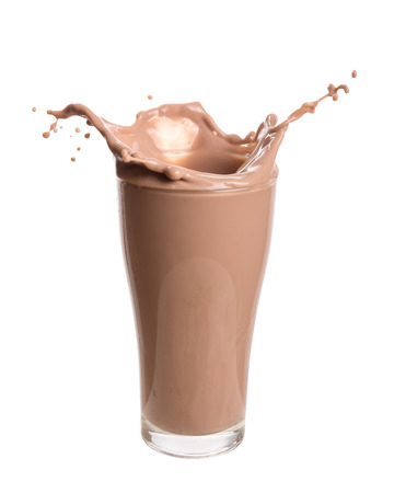 Photo for Chocolate milk splash out of glass., Isolated on white background. - Royalty Free Image