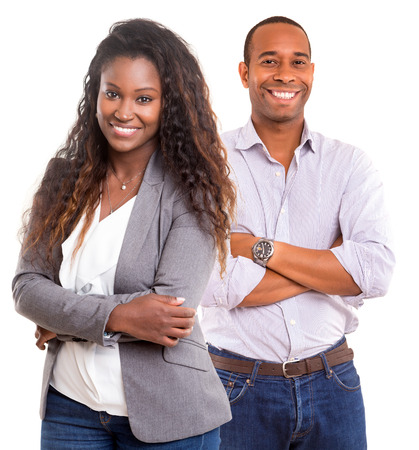 Photo pour Young african couple smiling isolated over a white background - image libre de droit