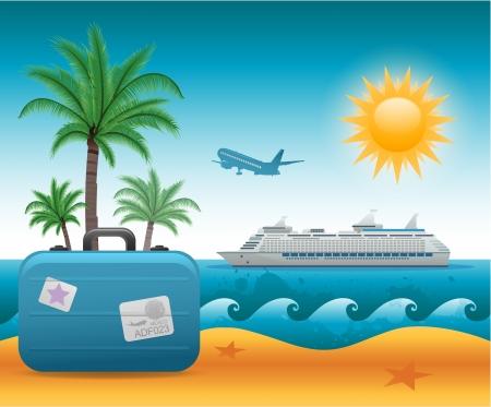 Illustration pour Summer beach vacation background - image libre de droit