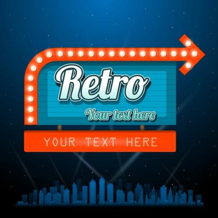 Illustration pour Retro motel sign with copyspace - image libre de droit