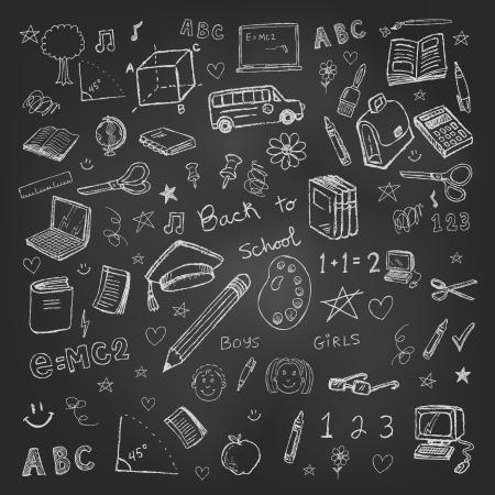 Foto de Back to school doodles in chalkboard background  - Imagen libre de derechos