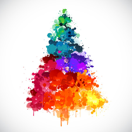 Illustration pour Colorful abstract paint splash Christmas tree - image libre de droit