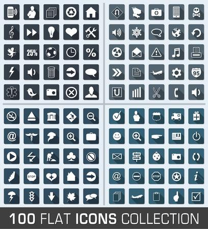 Illustrazione per Set of 100 universal flat modern icons - Immagini Royalty Free