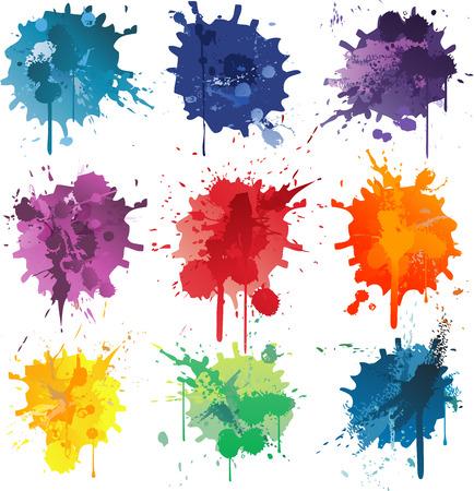 Ilustración de Colorful Abstract vector ink paint splats - Imagen libre de derechos