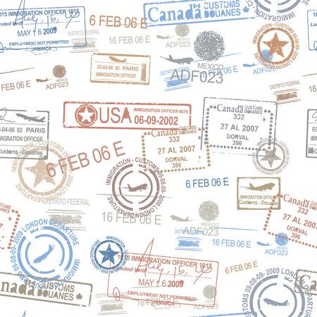 Foto de Rubber passport stamps travel symbol - Imagen libre de derechos