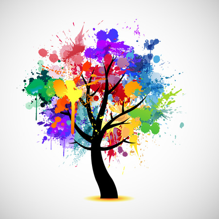 Illustration pour Multi colored paint splat abstract tree - image libre de droit