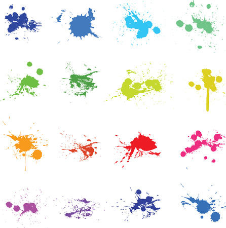 Ilustración de Set of color ink paint splat - Imagen libre de derechos