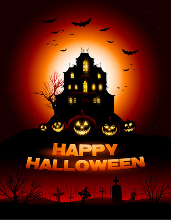 Ilustración de Red Halloween haunted house background - Imagen libre de derechos