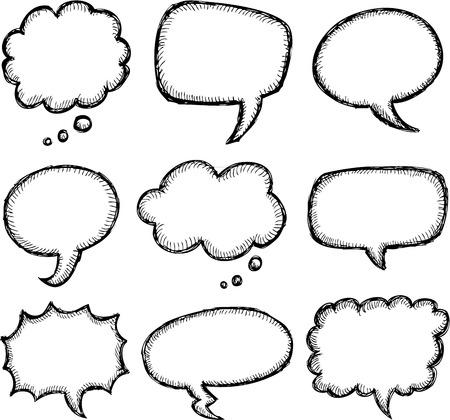 Illustration pour Hand drawn comic speech bubble set - image libre de droit