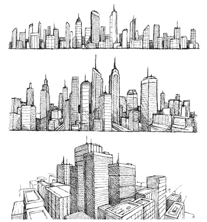 Foto de Hand drawn big cities cityscapes and buildings - Imagen libre de derechos