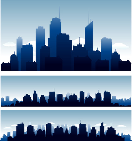 Illustration pour Big cities skyline buidlings with reflection - image libre de droit