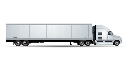 Illustration pour Vector truck with trailer isolated on white background - image libre de droit