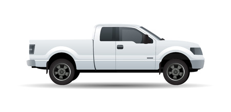 White pick up truck isolated on white vector illustration