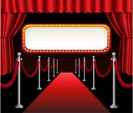 Illustration pour Red carpet movie premiere elegant event red curtain theater and billboard banner sign - image libre de droit