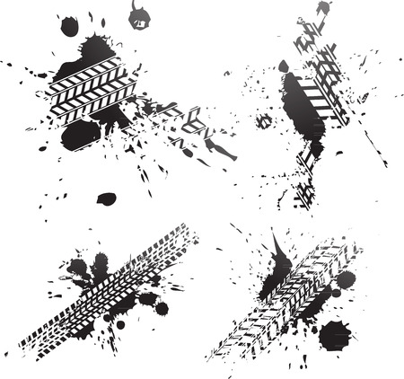 Ilustración de Black tire tracks splat isolated on white background - Imagen libre de derechos