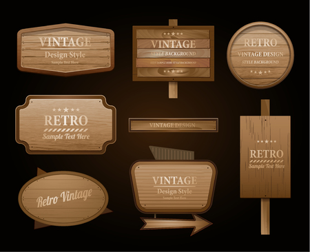 Illustration pour Realistic vector wood sign and banner isolated on black - image libre de droit