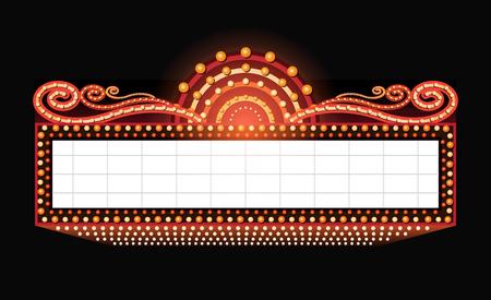 Illustration pour Brightly vintage glowing retro cinema neon sign - image libre de droit