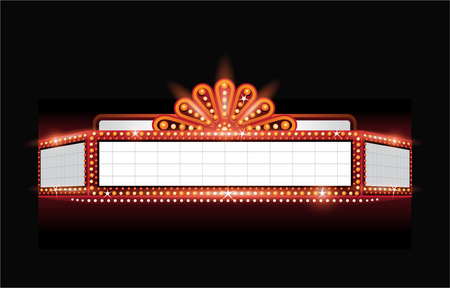 Illustration pour Brightly theater glowing retro cinema neon sign - image libre de droit