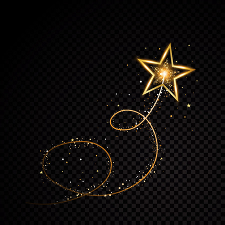 Ilustración de Gold glittering spiral star dust trail sparkling particles on transparent background. Space comet tail. Vector glamour fashion illustration set - Imagen libre de derechos