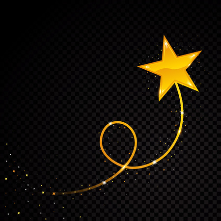 Ilustración de Gold glittering spiral star dust trail sparkling particles on transparent background. Space comet tail. Vector glamour fashion illustration - Imagen libre de derechos