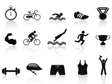 isolated triathlon sport icon set on white background