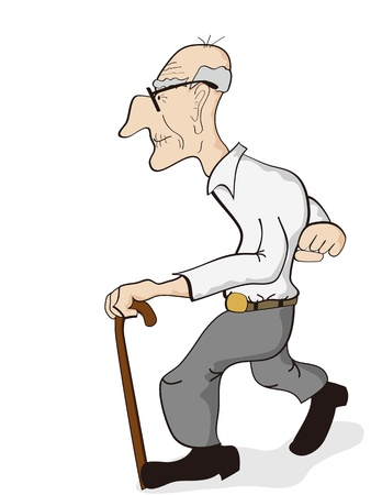 Illustration for isolated an old man walking on the white background - Royalty Free Image
