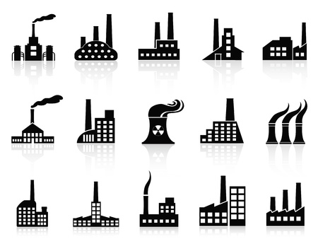 isolated black factory icons set from white background