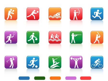the collection of sports people colored buttons on white background