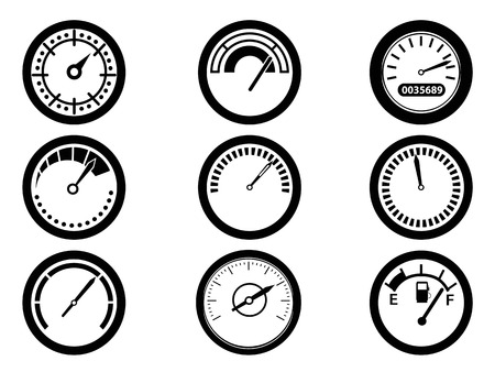 isolated gauge icons from white
