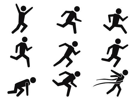 Ilustración de isolated black runner stick figure icons set from white background  - Imagen libre de derechos