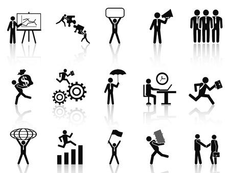 Ilustración de isolated black working businessman icons set from white background - Imagen libre de derechos