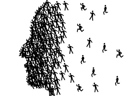Illustrazione per the man face profile shape formed with black stick figures - Immagini Royalty Free