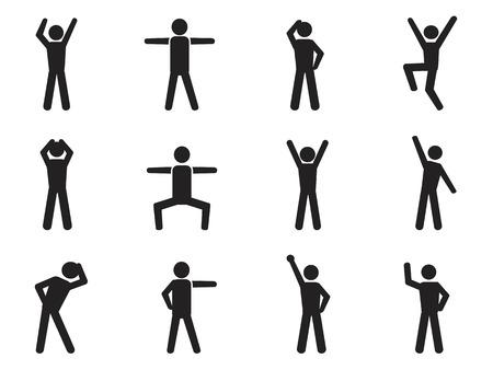 Illustrazione per isolated stick figure posture icons from white background - Immagini Royalty Free