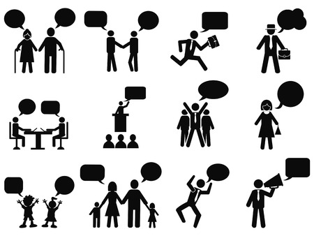 Photo pour isolated black people with speech bubbles icons from white background - image libre de droit