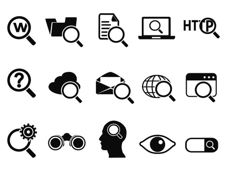Illustration pour isolated searching icons set from white background - image libre de droit